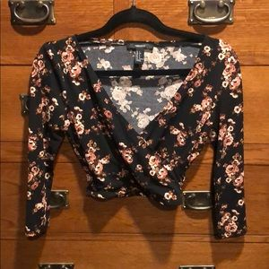 Floral crop top with plunge
